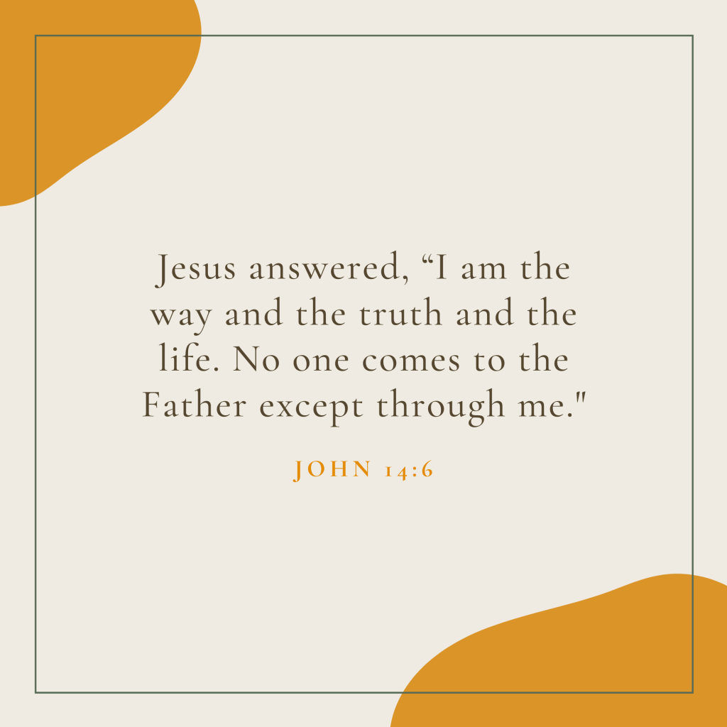 """Jesus answered, """"I am the way and the truth and the life. No one comes to the Father except through me."""