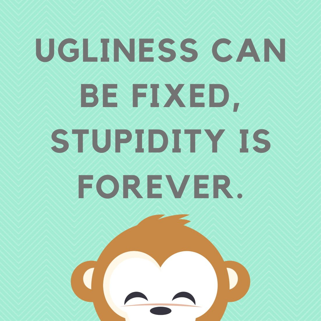 Ugliness can be fixed, stupidity is forever.