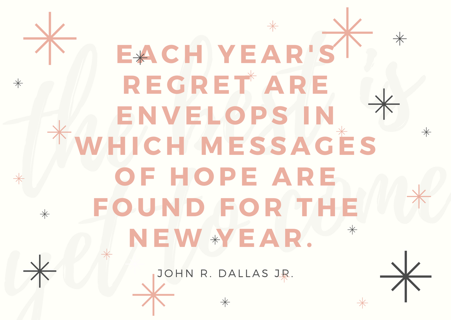 each year's regret are envelops in which messages of hope are found for the new year.