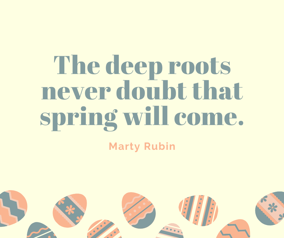 The deep roots never doubt that spring will come.
